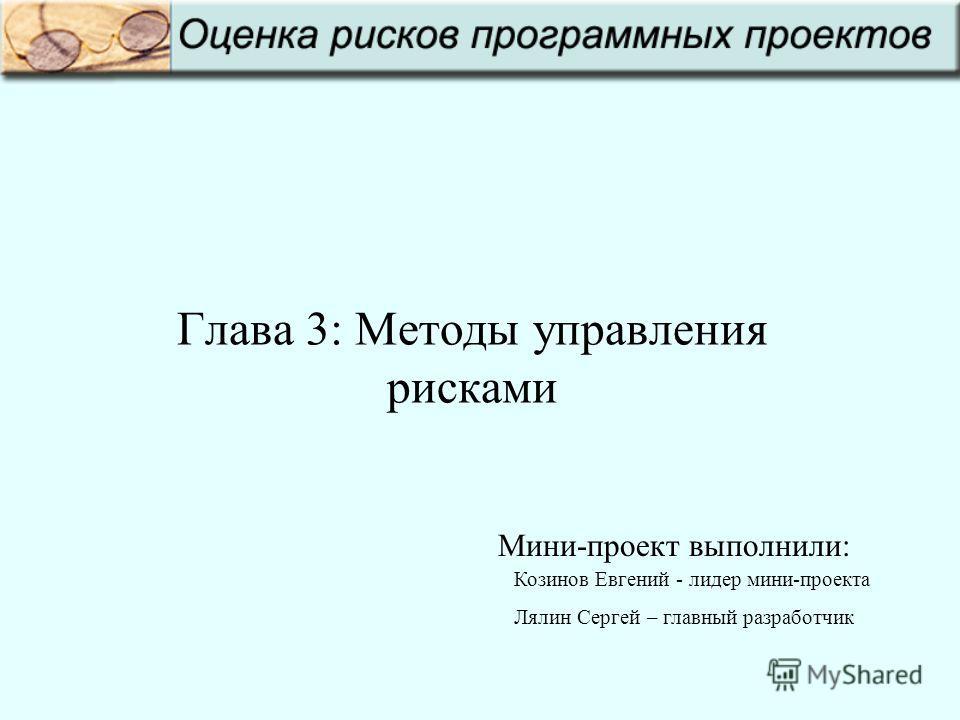 Глава 3: Методы управления рисками Козинов Евгений - лидер мини-проекта Лялин Сергей – главный разработчик Мини-проект выполнили: