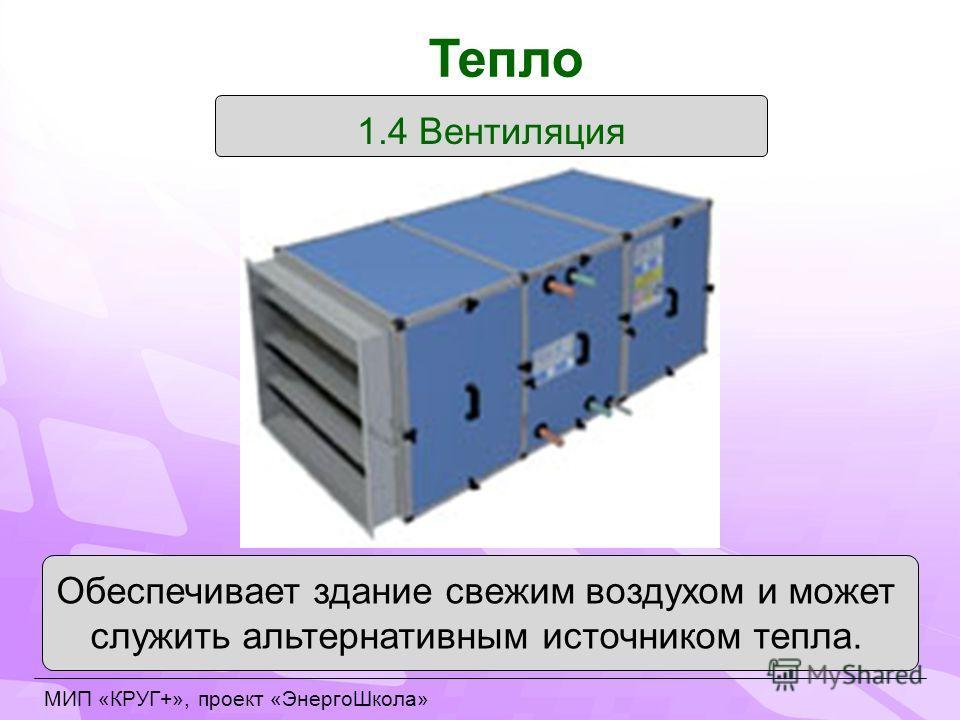 1.4 Вентиляция Обеспечивает здание свежим воздухом и может служить альтернативным источником тепла. Тепло МИП «КРУГ+», проект «ЭнергоШкола»