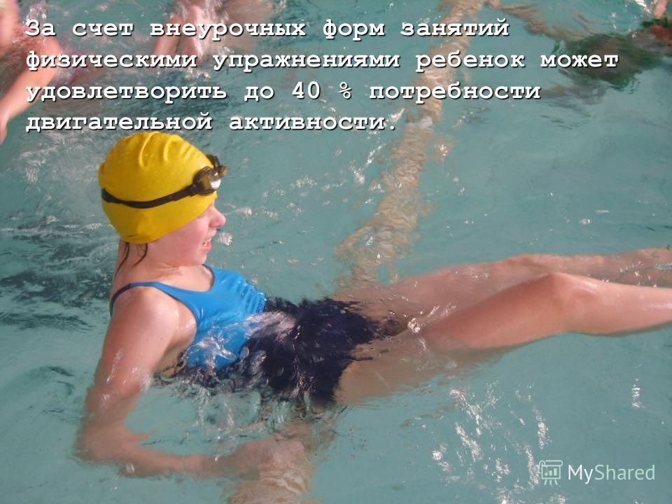 За счет внеурочных форм занятий физическими упражнениями ребенок может удовлетворить до 40 % потребности двигательной активности.