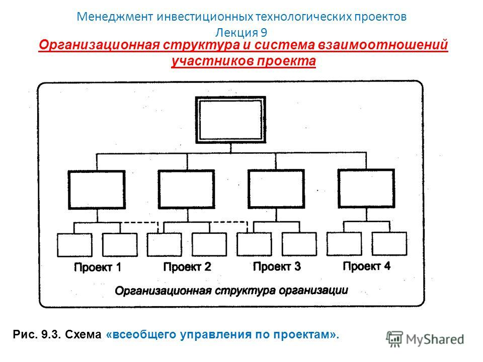 Менеджмент инвестиционных технологических проектов Лекция 9 Организационная структура и система взаимоотношений участников проекта Рис. 9.3. Схема «всеобщего управления по проектам».