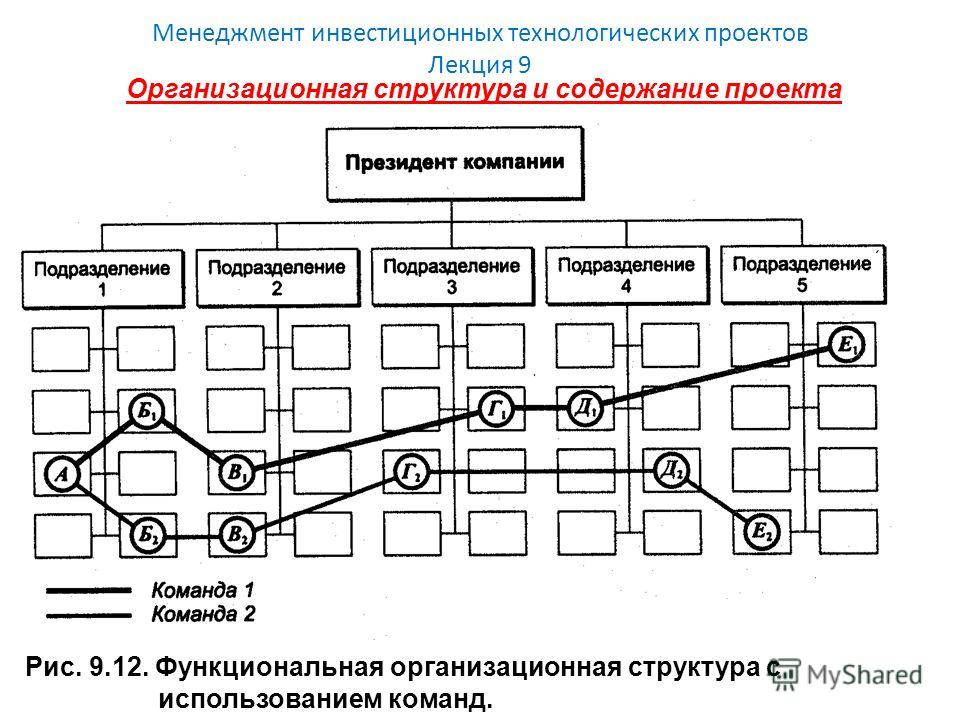 Менеджмент инвестиционных технологических проектов Лекция 9 Организационная структура и содержание проекта Рис. 9.12. Функциональная организационная структура с использованием команд.