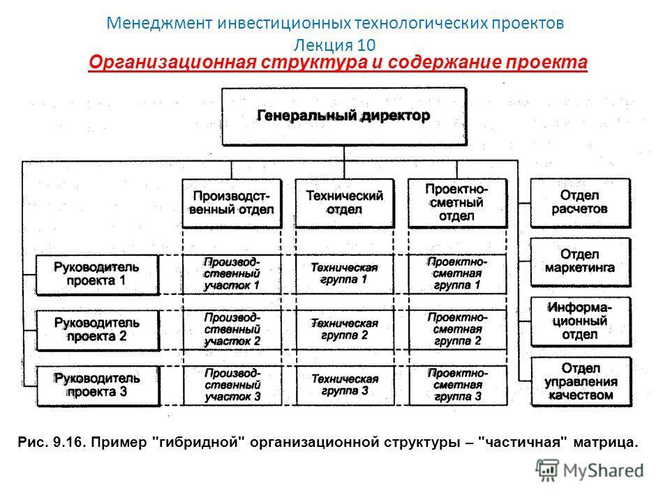 Менеджмент инвестиционных технологических проектов Лекция 10 Организационная структура и содержание проекта Рис. 9.16. Пример гибридной организационной структуры – частичная матрица.