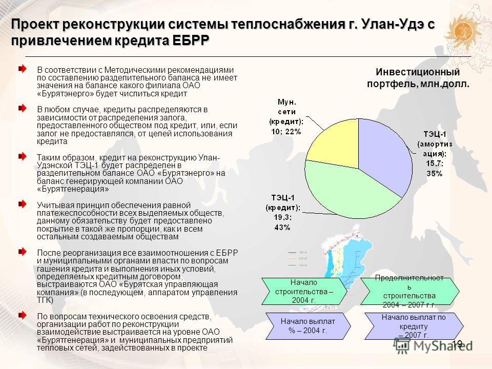 19 Проект реконструкции системы теплоснабжения г. Улан-Удэ с привлечением кредита ЕБРР В соответствии с Методическими рекомендациями по составлению разделительного баланса не имеет значения на балансе какого филиала ОАО «Бурятэнерго» будет числиться
