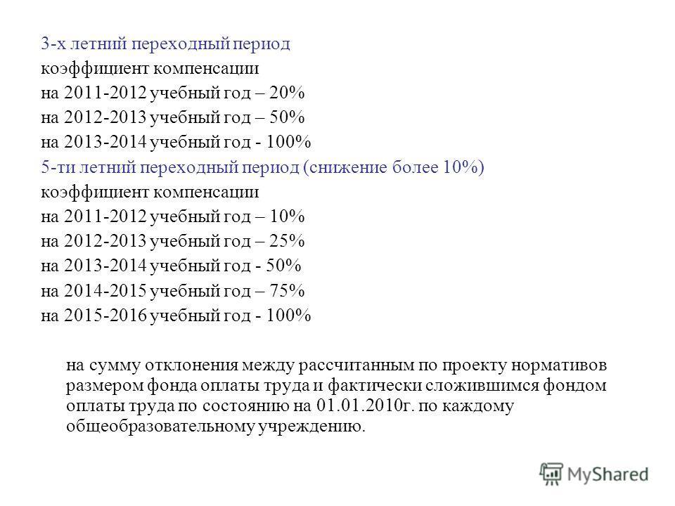 3-х летний переходный период коэффициент компенсации на 2011-2012 учебный год – 20% на 2012-2013 учебный год – 50% на 2013-2014 учебный год - 100% 5-ти летний переходный период (снижение более 10%) коэффициент компенсации на 2011-2012 учебный год – 1