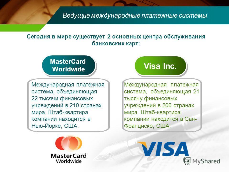 Ведущие международные платежные системы MasterCard Worldwide MasterCard Worldwide Visa Inc. Сегодня в мире существует 2 основных центра обслуживания банковских карт: Международная платежная система, объединяющая 22 тысячи финансовых учреждений в 210