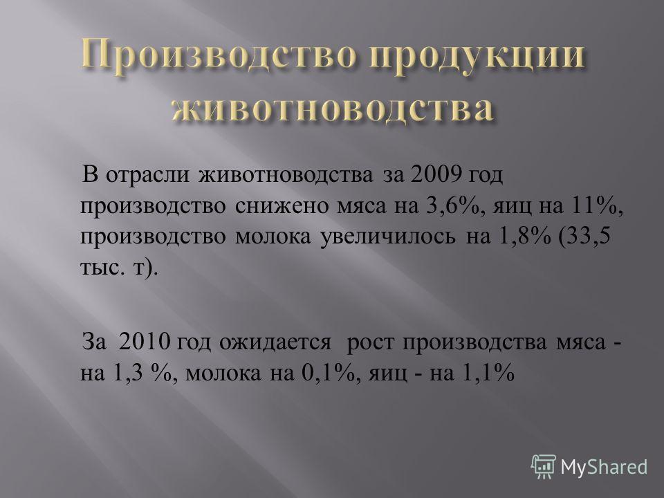 В отрасли животноводства за 2009 год производство снижено мяса на 3,6%, яиц на 11%, производство молока увеличилось на 1,8% (33,5 тыс. т ). За 2010 год ожидается рост производства мяса - на 1,3 %, молока на 0,1%, яиц - на 1,1%