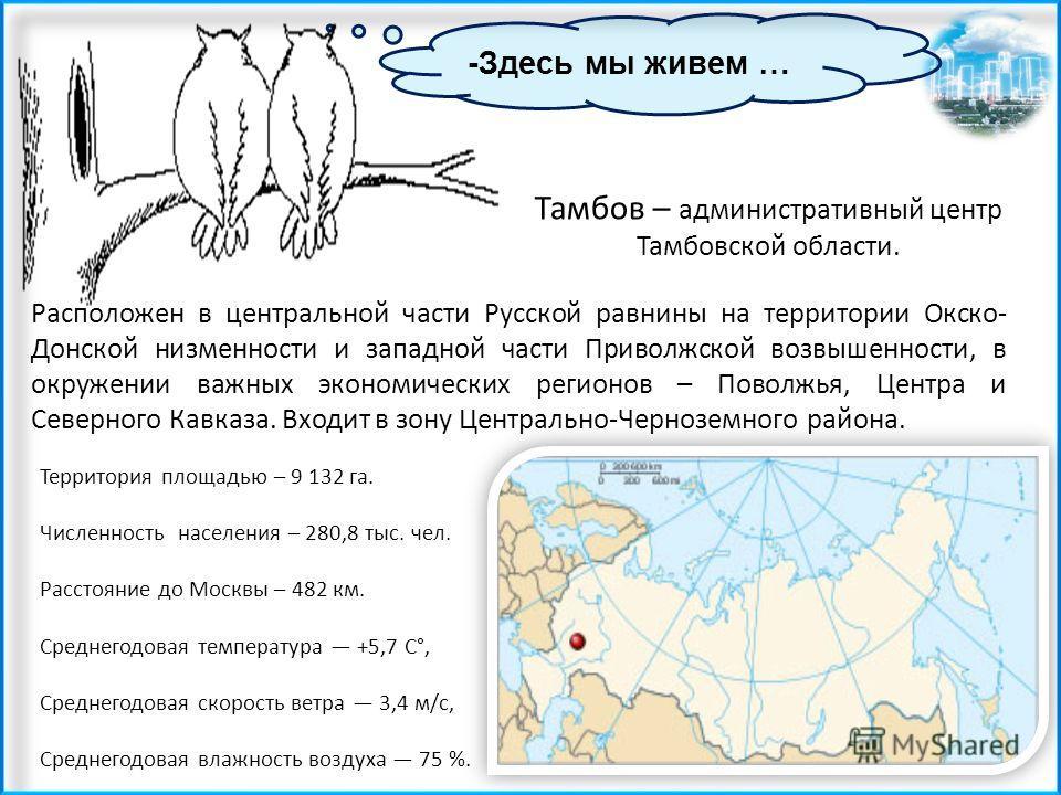 -Здесь мы живем … Тамбов – административный центр Тамбовской области. Расположен в центральной части Русской равнины на территории Окско- Донской низменности и западной части Приволжской возвышенности, в окружении важных экономических регионов – Пово