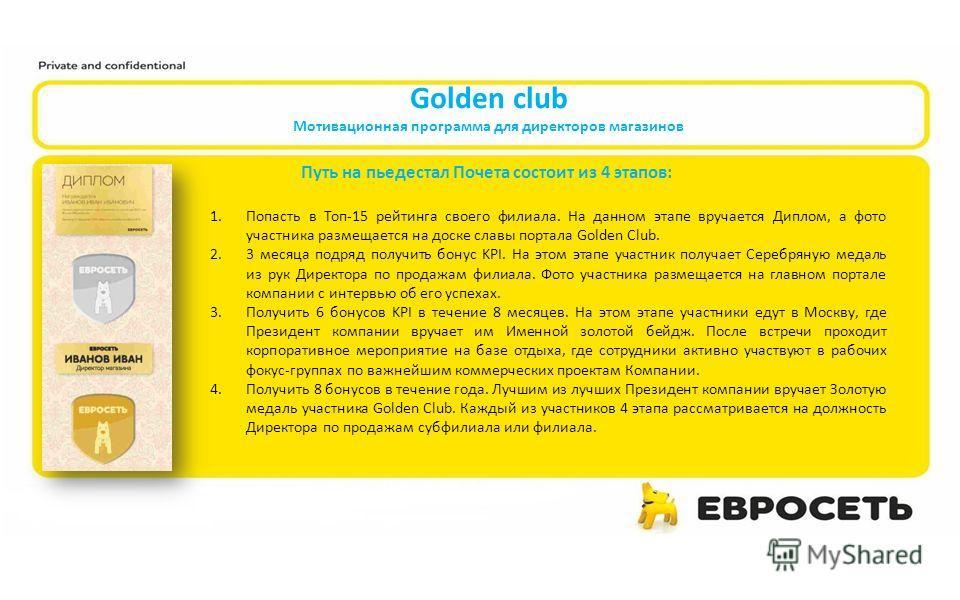 Golden club Мотивационная программа для директоров магазинов Путь на пьедестал Почета состоит из 4 этапов: 1.Попасть в Топ-15 рейтинга своего филиала. На данном этапе вручается Диплом, а фото участника размещается на доске славы портала Golden Club.