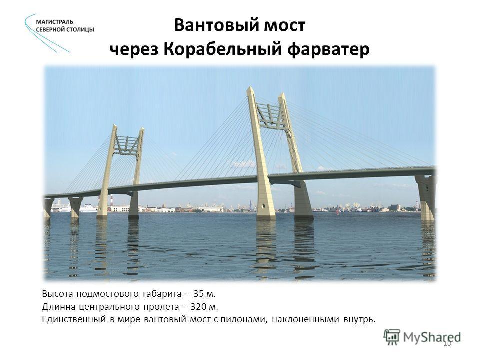 Вантовый мост через Корабельный фарватер Высота подмостового габарита – 35 м. Длинна центрального пролета – 320 м. Единственный в мире вантовый мост с пилонами, наклоненными внутрь. 10