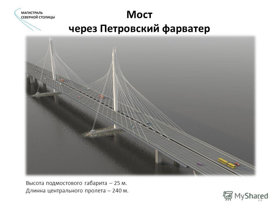 Мост через Петровский фарватер Высота подмостового габарита – 25 м. Длинна центрального пролета – 240 м. 11