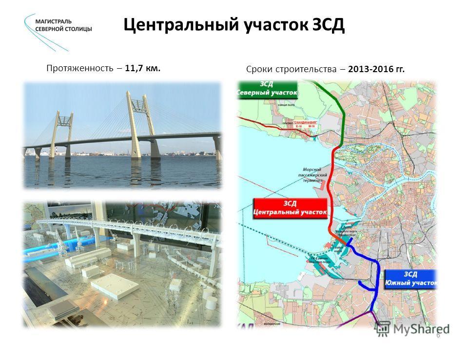 Центральный участок ЗСД Протяженность – 11,7 км. Сроки строительства – 2013-2016 гг. 6