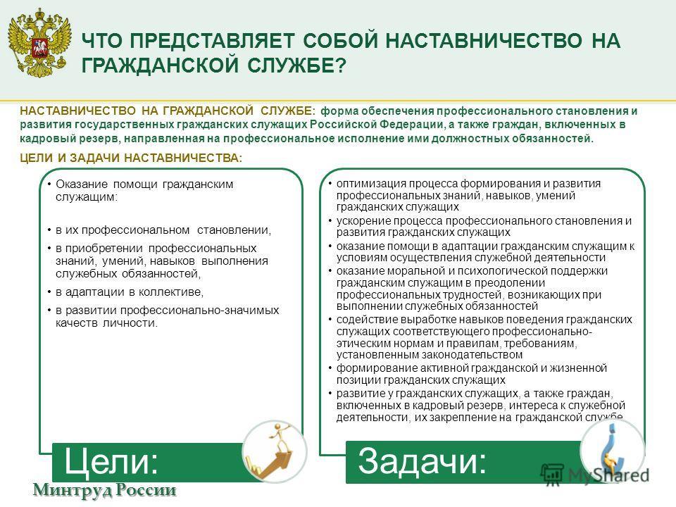 Минтруд России ЧТО ПРЕДСТАВЛЯЕТ СОБОЙ НАСТАВНИЧЕСТВО НА ГРАЖДАНСКОЙ СЛУЖБЕ? НАСТАВНИЧЕСТВО НА ГРАЖДАНСКОЙ СЛУЖБЕ: форма обеспечения профессионального становления и развития государственных гражданских служащих Российской Федерации, а также граждан, в