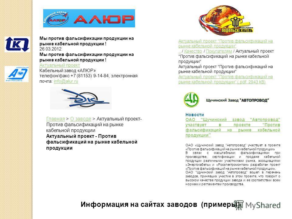 Мы против фальсификации продукции на рынке кабельной продукции ! 26.03.2012 Мы против фальсификации продукции на рынке кабельной продукции ! Актуальный проект Кабельный завод «АЛЮР» телефон/факс +7 (81153) 9-14-84, электронная почта: info@alur.ruinfo