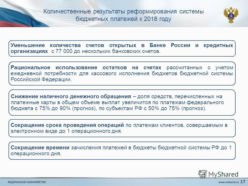 Количественные результаты реформирования системы бюджетных платежей к 2018 году Уменьшение количества счетов открытых в Банке России и кредитных организациях с 77 000 до нескольких банковских счетов. Рациональное использование остатков на счетах расс