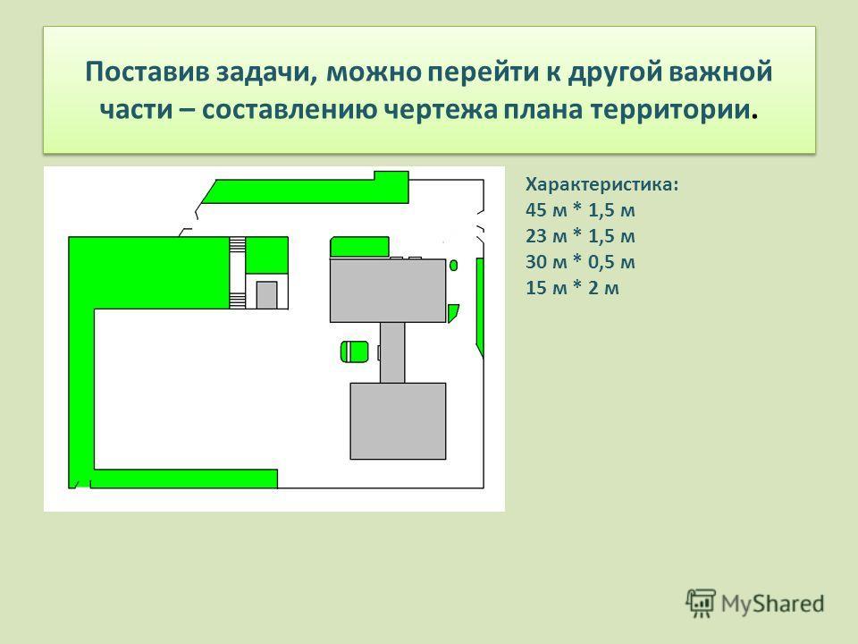 Поставив задачи, можно перейти к другой важной части – составлению чертежа плана территории. Характеристика: 45 м * 1,5 м 23 м * 1,5 м 30 м * 0,5 м 15 м * 2 м