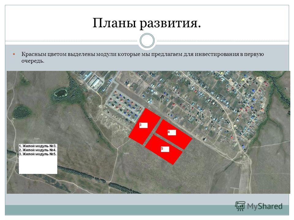 Планы развития. Красным цветом выделены модули которые мы предлагаем для инвестирования в первую очередь.