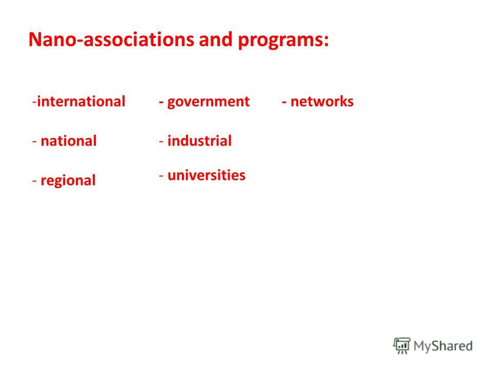Nano-associations and programs: -international - national - regional - government - industrial - universities - networks