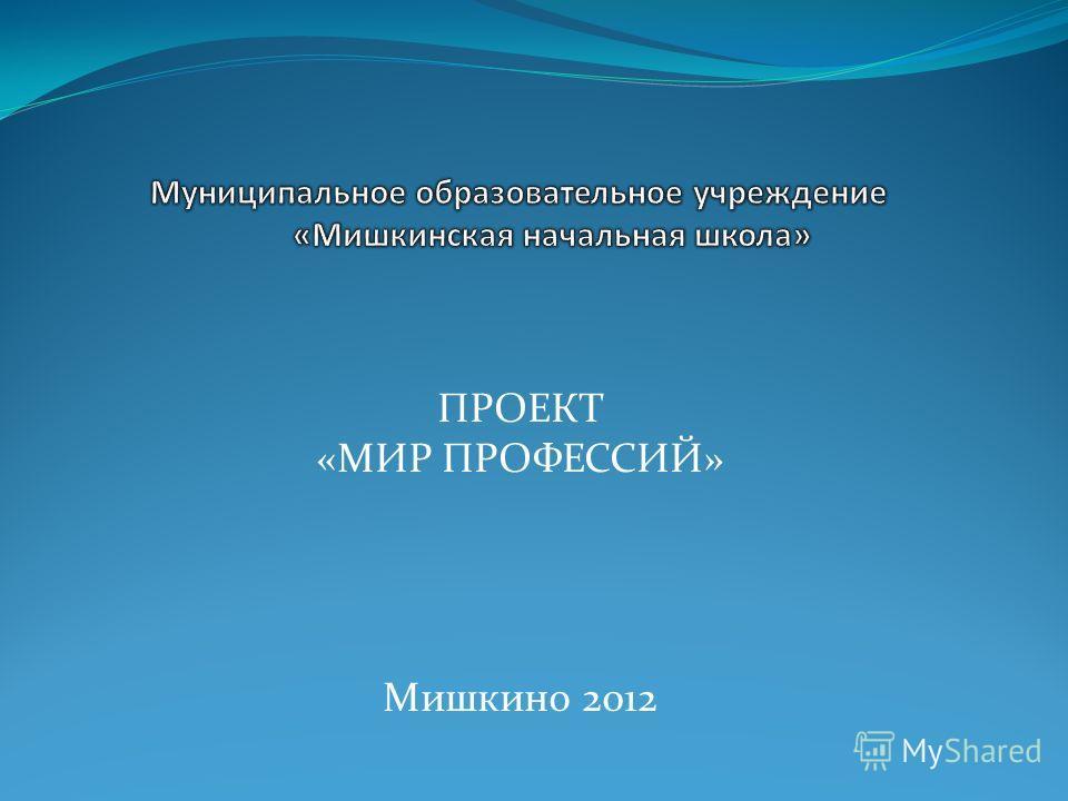 ПРОЕКТ «МИР ПРОФЕССИЙ» Мишкино 2012