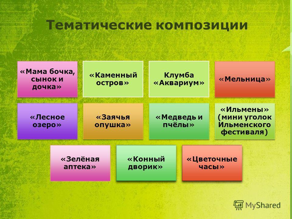 Тематические композиции «Мама бочка, сынок и дочка» «Каменный остров» Клумба «Аквариум» «Мельница» «Лесное озеро» «Заячья опушка» «Медведь и пчёлы» «Ильмены» (мини уголок Ильменского фестиваля) «Зелёная аптека» «Конный дворик» «Цветочные часы»