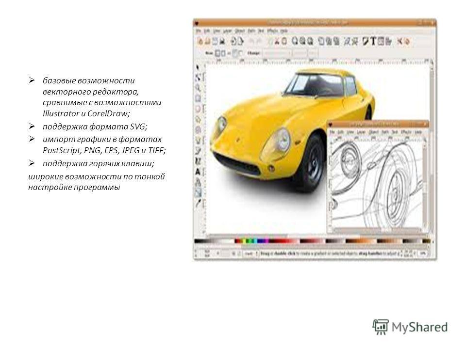 базовые возможности векторного редактора, сравнимые с возможностями Illustrator и CorelDraw; поддержка формата SVG; импорт графики в форматах PostScript, PNG, EPS, JPEG и TIFF; поддержка горячих клавиш; широкие возможности по тонкой настройке програм