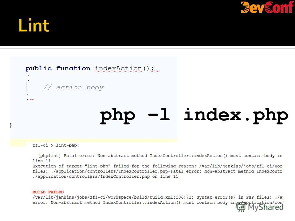 php –l index.php