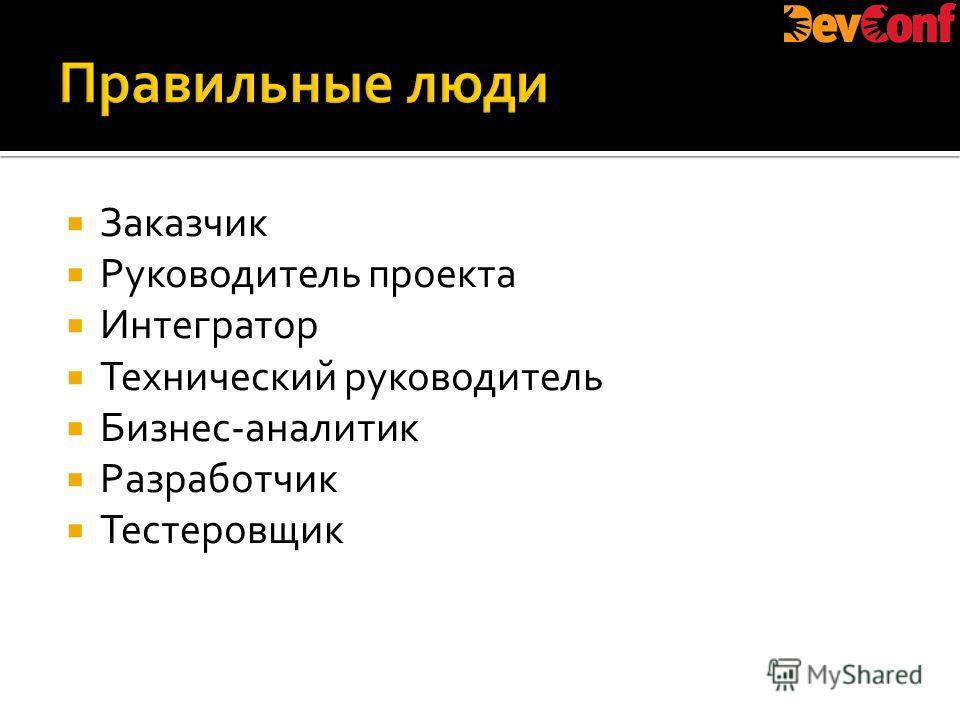 Заказчик Руководитель проекта Интегратор Технический руководитель Бизнес-аналитик Разработчик Тестеровщик