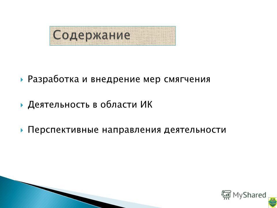 Разработка и внедрение мер смягчения Деятельность в области ИК Перспективные направления деятельности