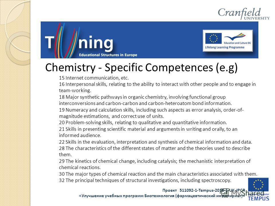 Проект 511092-1-Tempus-2010-1-UK-JPCR «Улучшение учебных программ Биотехнология (фармацевтический инжениринг)» Chemistry - Specific Competences (e.g) 15 Internet communication, etc. 16 Interpersonal skills, relating to the ability to interact with ot