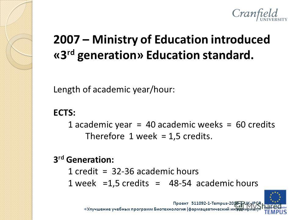 Проект 511092-1-Tempus-2010-1-UK-JPCR «Улучшение учебных программ Биотехнология (фармацевтический инжениринг)» 2007 – Ministry of Education introduced «3 rd generation» Education standard. Length of academic year/hour: ECTS: 1 academic year = 40 acad