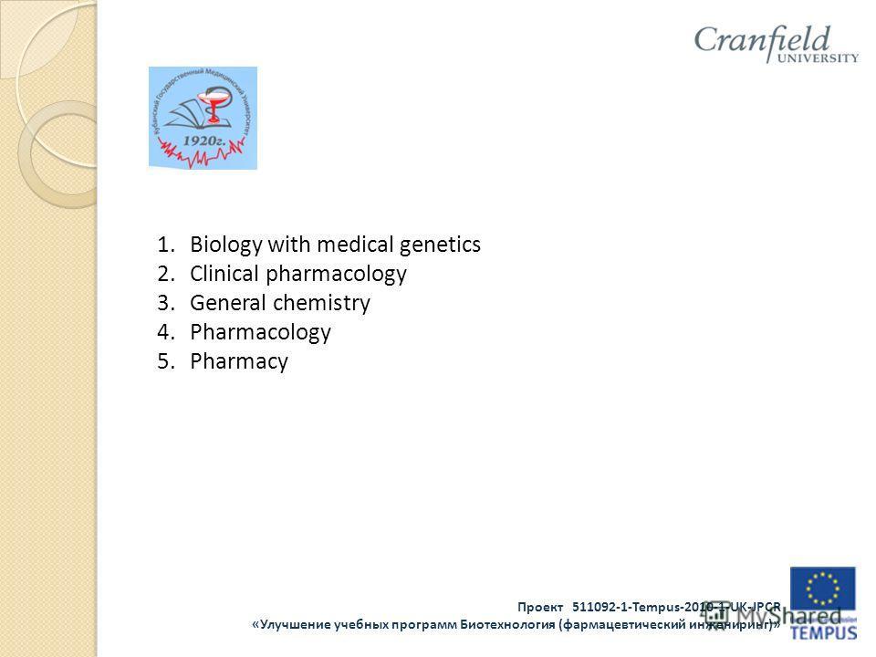 Проект 511092-1-Tempus-2010-1-UK-JPCR «Улучшение учебных программ Биотехнология (фармацевтический инжениринг)» 1.Biology with medical genetics 2.Clinical pharmacology 3.General chemistry 4.Pharmacology 5.Pharmacy
