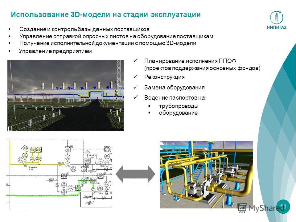 Использование 3D-модели на стадии эксплуатации 11 Управление предприятием Создание и контроль базы данных поставщиков Управление отправкой опросных листов на оборудование поставщикам Получение исполнительной документации с помощью 3D-модели Планирова