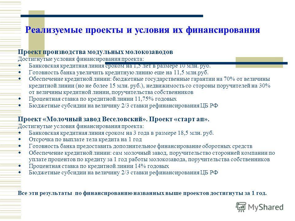 Проект производства модульных молокозаводов Достигнутые условия финансирования проекта: Банковская кредитная линия сроком на 1,5 лет в размере 10 млн. руб. Готовность банка увеличить кредитную линию еще на 11,5 млн.руб. Обеспечение кредитной линии: б