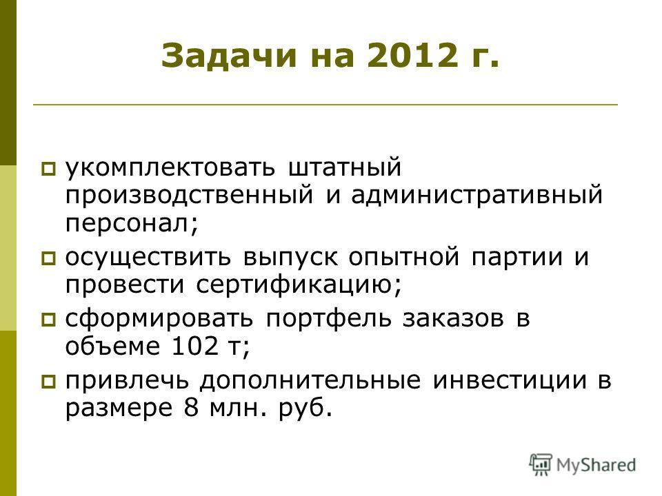 Задачи на 2012 г. укомплектовать штатный производственный и административный персонал; осуществить выпуск опытной партии и провести сертификацию; сформировать портфель заказов в объеме 102 т; привлечь дополнительные инвестиции в размере 8 млн. руб.
