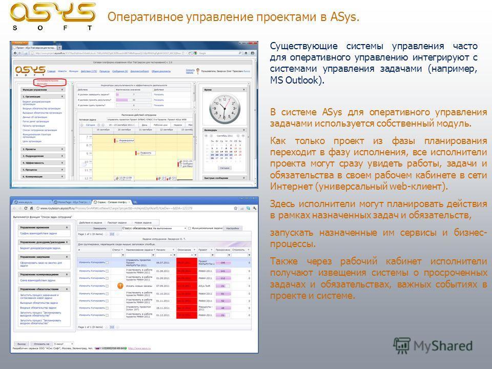 Оперативное управление проектами в ASys. Существующие системы управления часто для оперативного управлению интегрируют с системами управления задачами (например, MS Outlook). В системе ASys для оперативного управления задачами используется собственны