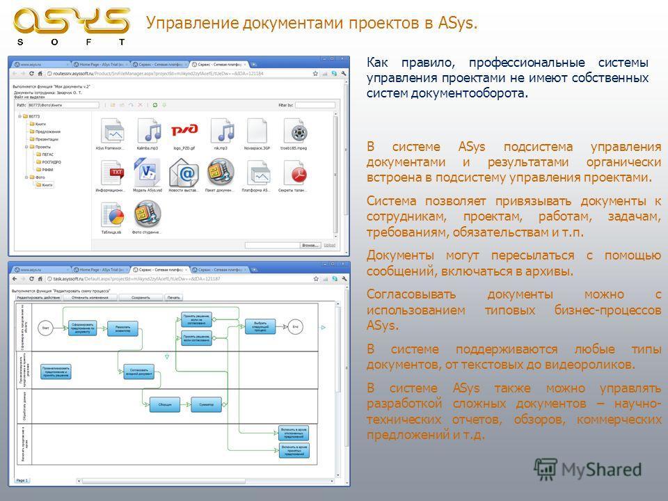 Управление документами проектов в ASys. Как правило, профессиональные системы управления проектами не имеют собственных систем документооборота. В системе ASys подсистема управления документами и результатами органически встроена в подсистему управле