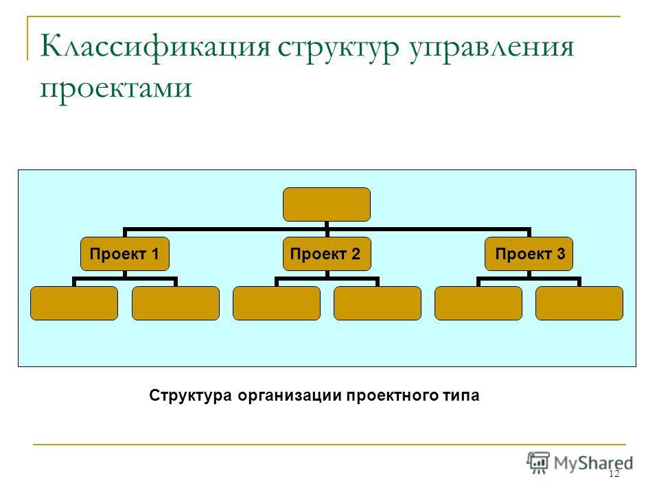 12 Классификация структур управления проектами Структура организации проектного типа