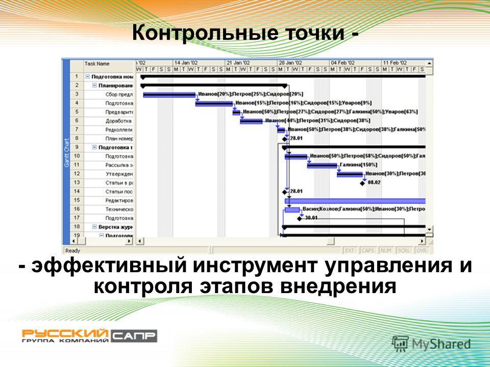 Контрольные точки - - эффективный инструмент управления и контроля этапов внедрения