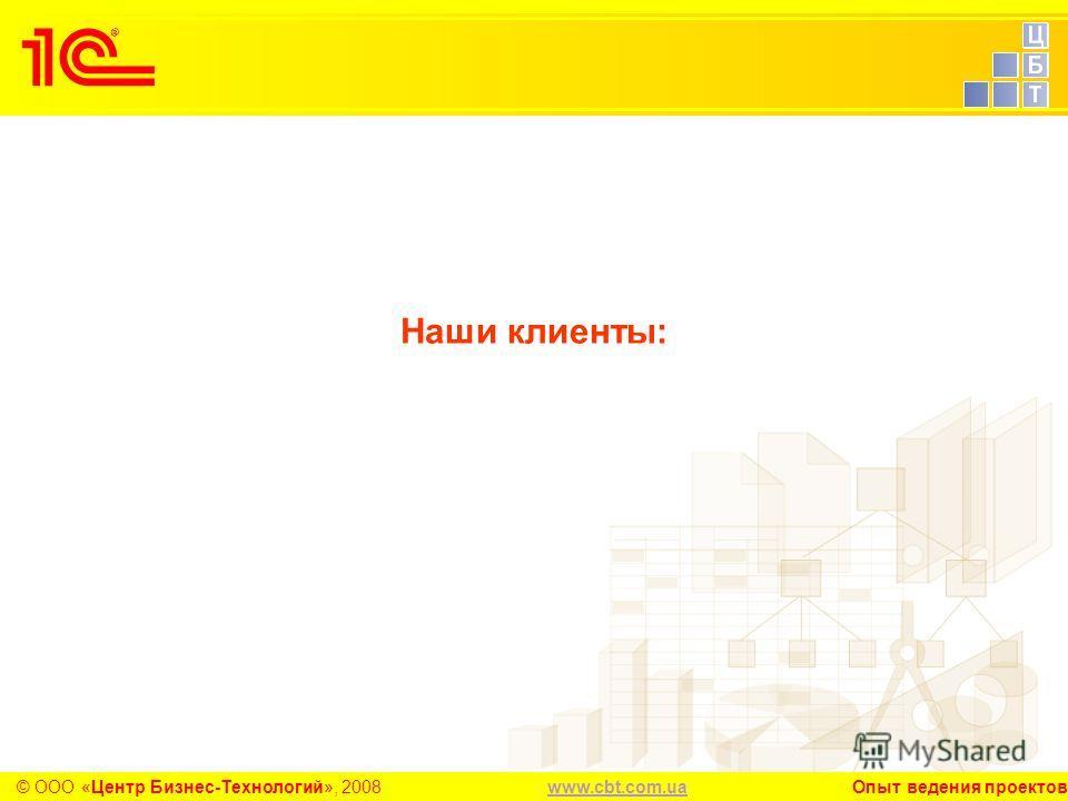 www.cbt.com.uawww.cbt.com.ua Опыт ведения проектов© ООО «Центр Бизнес-Технологий», 2008 Наши клиенты: