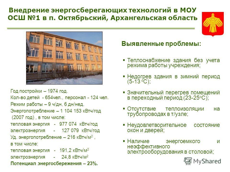 Год постройки – 1974 год. Кол-во детей - 654чел., персонал - 124 чел. Режим работы – 9 ч/дн, 6 дн/нед. Энергопотребление – 1 104 153 кВтч/год (2007 год), в том числе: тепловая энергия - 977 074 кВтч/год электроэнергия - 127 079 кВтч/год Уд. энергопот