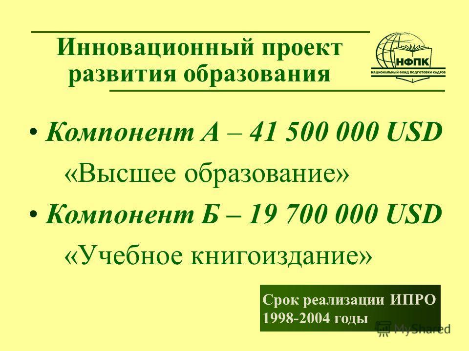 Инновационный проект развития образования Срок реализации ИПРО 1998-2004 годы Компонент А – 41 500 000 USD «Высшее образование» Компонент Б – 19 700 000 USD «Учебное книгоиздание»