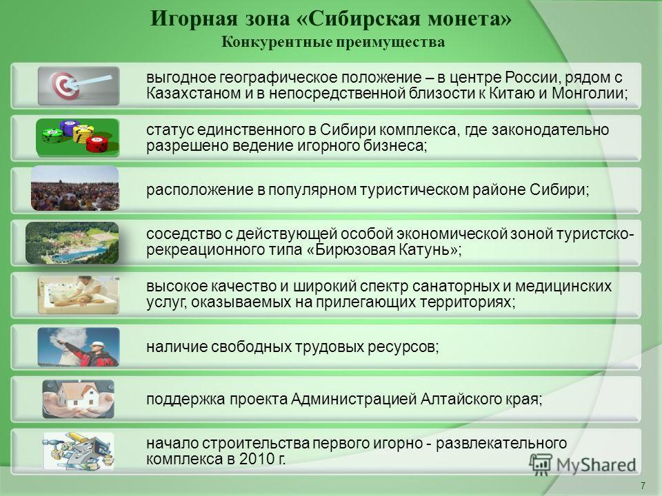 Игорная зона «Сибирская монета» Конкурентные преимущества 7