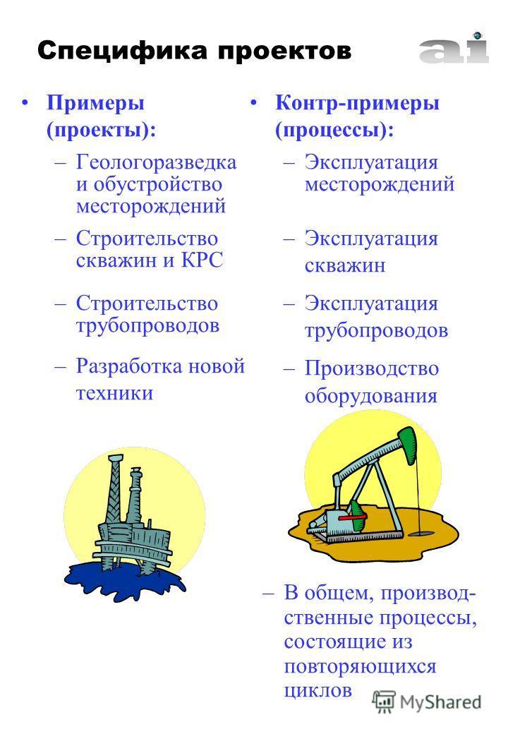 Примеры (проекты): –Геологоразведка и обустройство месторождений –Строительство скважин и КРС –Строительство трубопроводов –Разработка новой техники Контр-примеры (процессы): –Эксплуатация месторождений –Эксплуатация скважин –Эксплуатация трубопровод