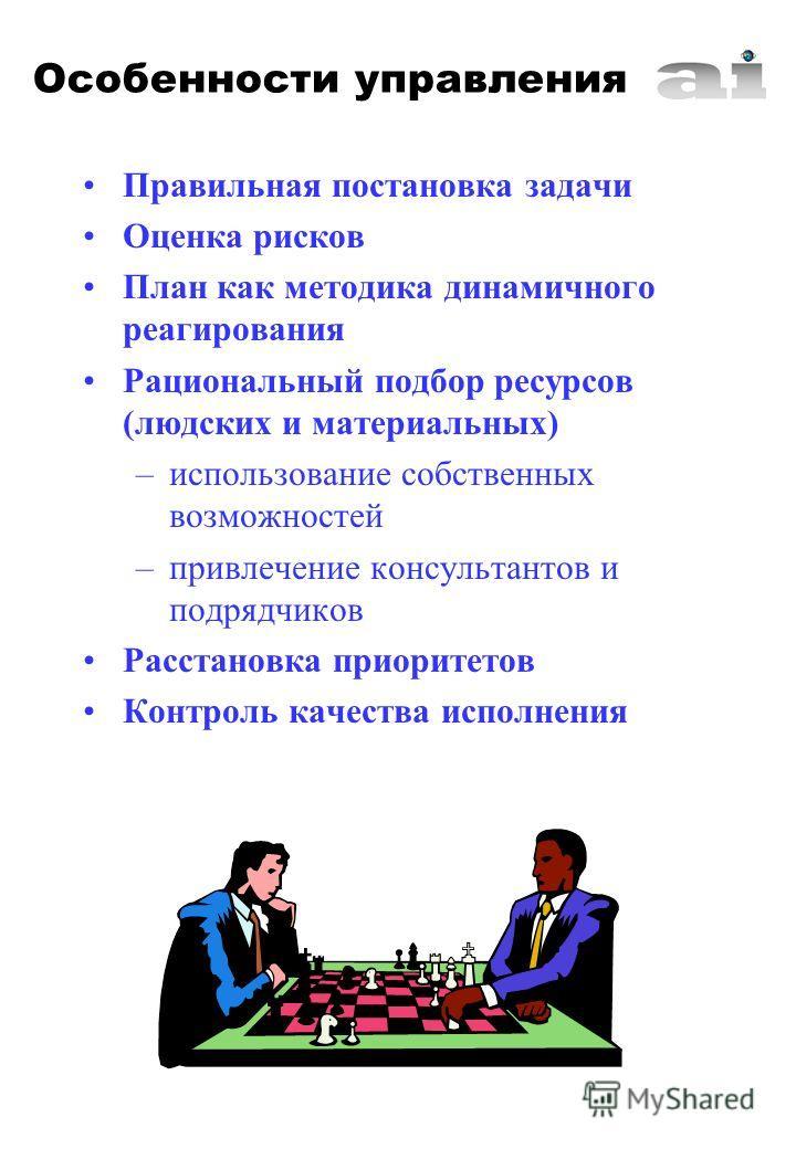 Правильная постановка задачи Оценка рисков План как методика динамичного реагирования Рациональный подбор ресурсов (людских и материальных) –использование собственных возможностей –привлечение консультантов и подрядчиков Расстановка приоритетов Контр