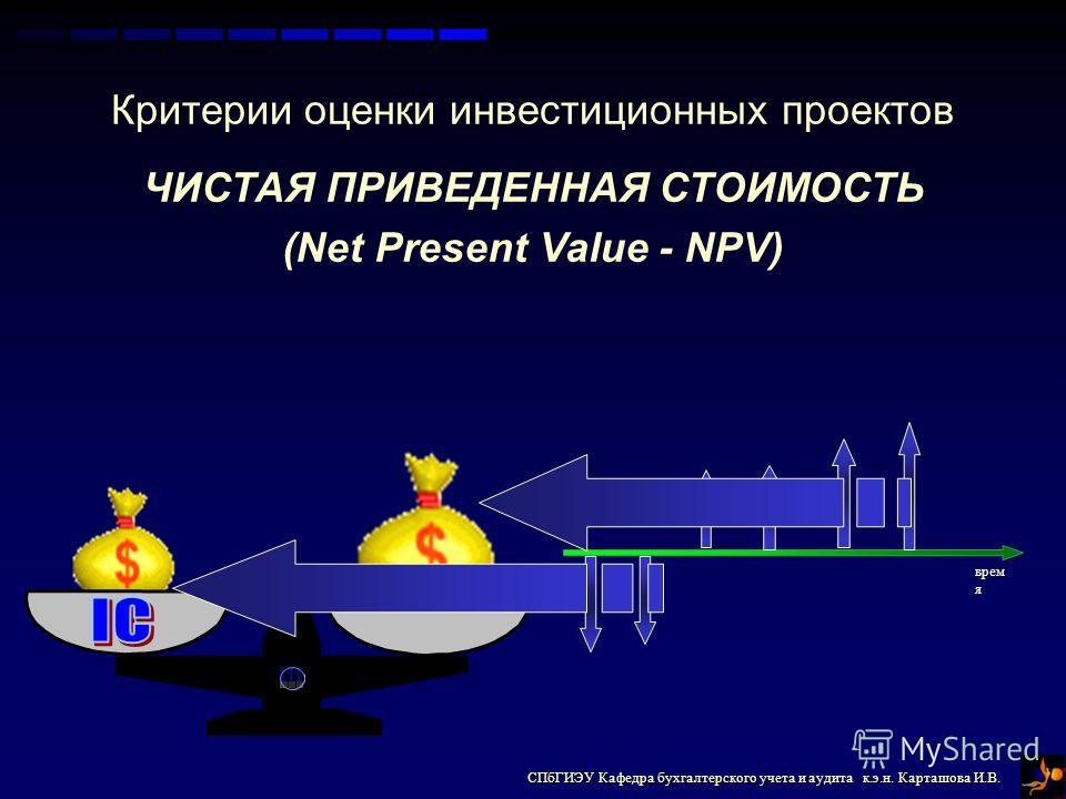 СПбГИЭУ Кафедра бухгалтерского учета и аудита к.э.н. Карташова И.В. Критерии оценки инвестиционных проектов ЧИСТАЯ ПРИВЕДЕННАЯ СТОИМОСТЬ (Net Present Value - NPV) врем я