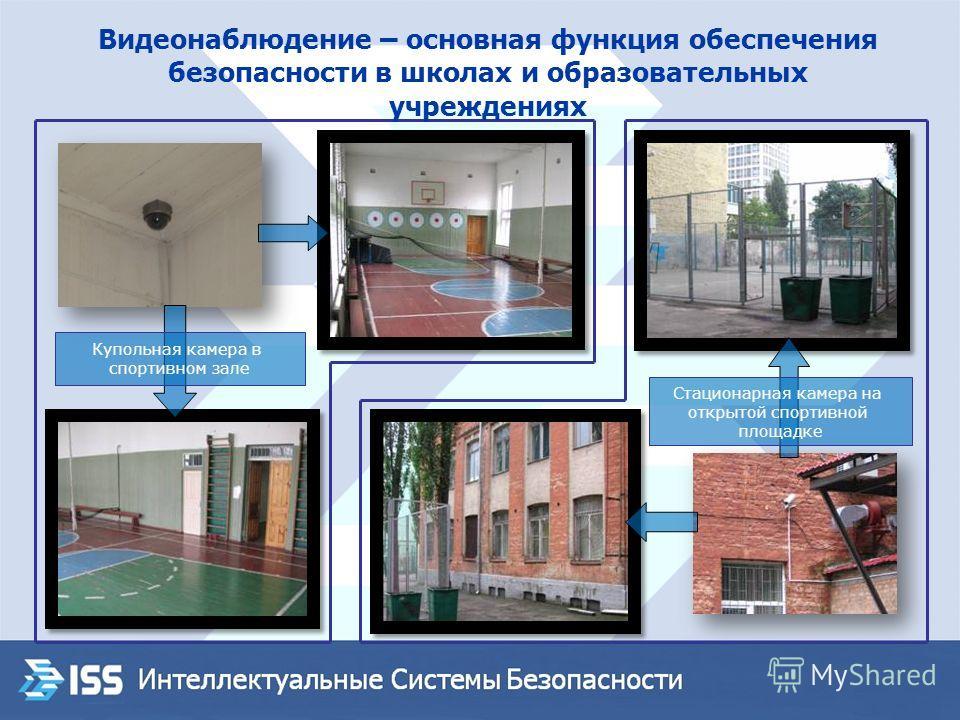Стационарная камера на открытой спортивной площадке Купольная камера в спортивном зале Видеонаблюдение – основная функция обеспечения безопасности в школах и образовательных учреждениях