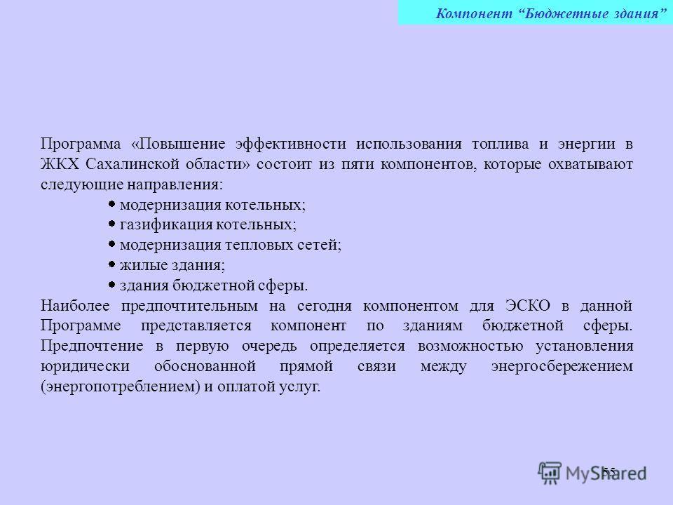 55 Программа «Повышение эффективности использования топлива и энергии в ЖКХ Сахалинской области» состоит из пяти компонентов, которые охватывают следующие направления: модернизация котельных; газификация котельных; модернизация тепловых сетей; жилые