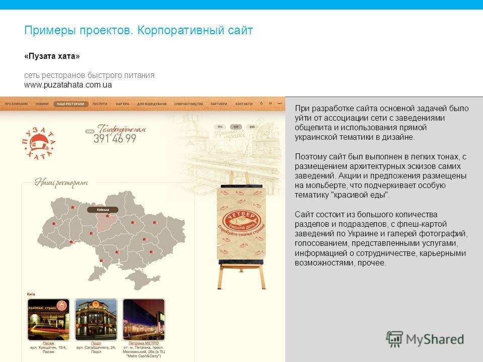 При разработке сайта основной задачей было уйти от ассоциации сети с заведениями общепита и использования прямой украинской тематики в дизайне. Поэтому сайт был выполнен в легких тонах, с размещением архитектурных эскизов самих заведений. Акции и пре