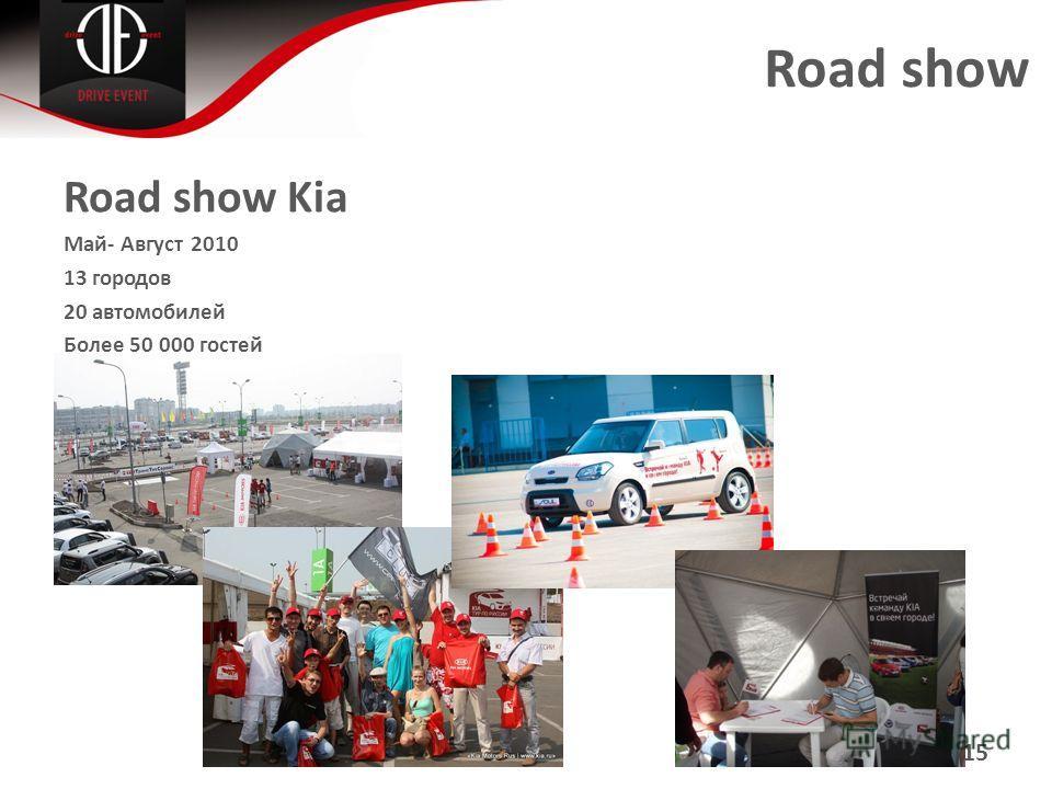 Road show Road show Kia Май- Август 2010 13 городов 20 автомобилей Более 50 000 гостей 15
