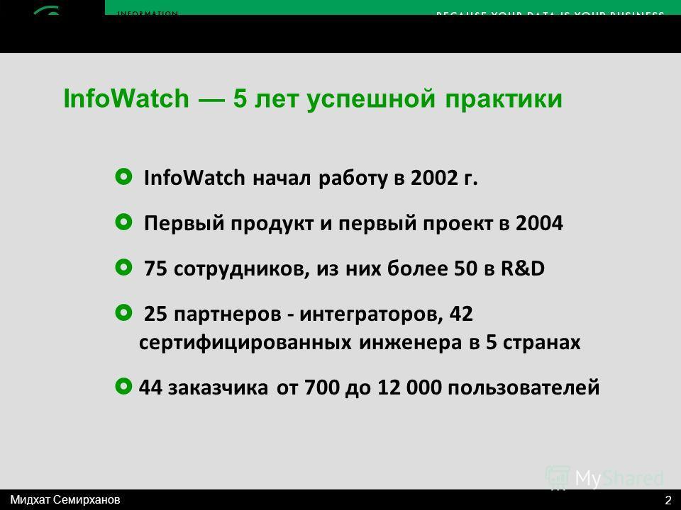 InfoWatch начал работу в 2002 г. Первый продукт и первый проект в 2004 75 сотрудников, из них более 50 в R&D 25 партнеров - интеграторов, 42 сертифицированных инженера в 5 странах 44 заказчика от 700 до 12 000 пользователей InfoWatch 5 лет успешной п