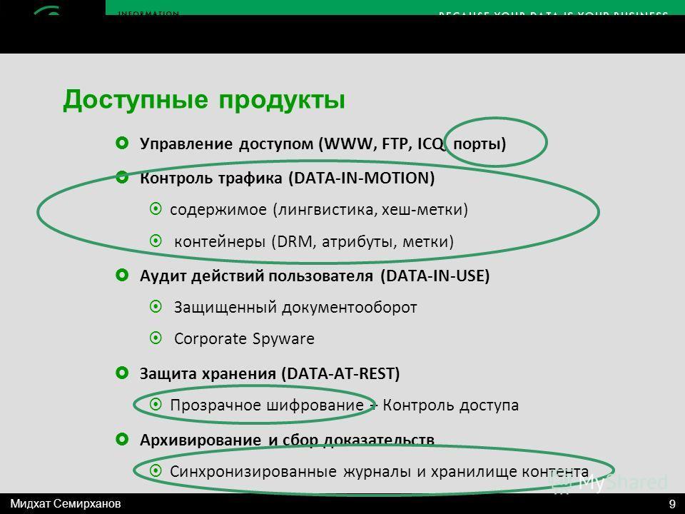Управление доступом (WWW, FTP, ICQ, порты) Контроль трафика (DATA-IN-MOTION) содержимое (лингвистика, хеш-метки) контейнеры (DRM, атрибуты, метки) Аудит действий пользователя (DATA-IN-USE) Защищенный документооборот Corporate Spyware Защита хранения